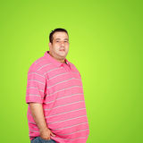 Happy fat man with pink shirt Royalty Free Stock Photo