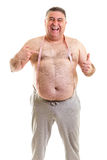 Happy fat man with a tape measure around his neck royalty free stock photo