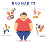 Happy fat man. With unhealthy lifestyle symbols around him such as junk food, sweets, video game and unhealthy drinks. Flat concept illustration of bad habits Stock Image