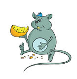 Happy fat mouse holding a piece of cheese, vector illustration. Stock Photo