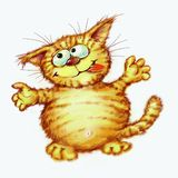 Happy fat red cat Digital illustration Stock Photos