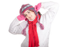 Happy fat winter girl Royalty Free Stock Photo