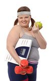 Happy fat woman dieting Stock Photo