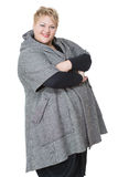 Happy fat woman. Isolated on white background. in Stock Images