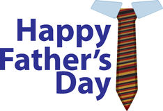 Happy Fathe's Day. Happy Father's Day text with tie Royalty Free Stock Photos