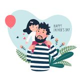 Happy father's day card. Cute little girl on her father's shoulder in heart shaped stock illustration