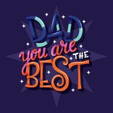 Happy Father's Day, Dad you are the best, hand lettering typography modern poster design stock photo
