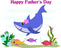 Happy Father's Day Greeting with Shark and Fish Royalty Free Stock Photo