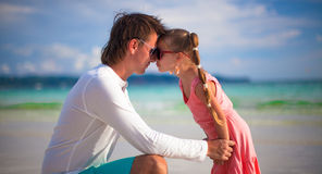 Happy father and adorable little daughter on the Stock Photos