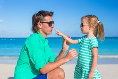 Happy father and adorable little girl during Royalty Free Stock Image