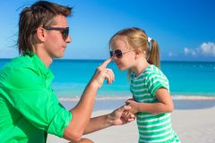 Happy father and adorable little girl during Royalty Free Stock Images