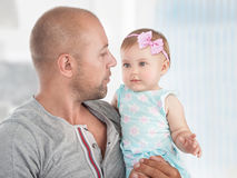 Happy father with baby girl Stock Photos