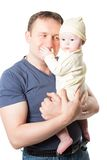 Happy father and  baby girl cuddling Stock Photography