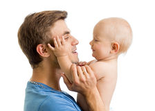 Happy father and baby son in his hands Stock Photo