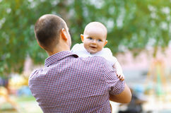 Happy father with baby walking Stock Photo