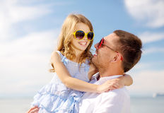 Happy father and child girl having fun outdoors Royalty Free Stock Photos