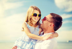 Happy father and child girl having fun outdoors Stock Images