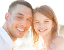 Happy father and child girl having fun Stock Images