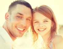 Happy father and child girl having fun Stock Image