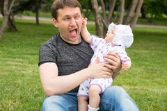 Happy father and child girl hugging. Stock Images