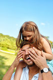 Happy Father And Child Having Fun Playing Outdoors. Family Time royalty free stock images