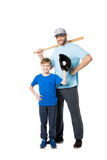 Happy father and child ready to play baseball. Isolated on white Stock Photography
