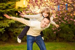 Happy father and child spending time together royalty free stock photos