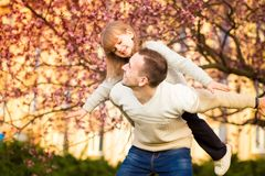 Happy father and child spending time together stock images