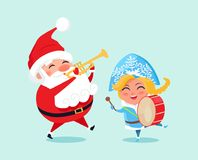 Happy Father Christmas Grand Daughter Play Music Stock Image