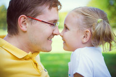 Happy father and cute child girl having fun during summer holida Royalty Free Stock Photos
