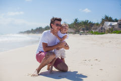 Happy father with cute daughter walking on Royalty Free Stock Photos