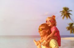 Happy father and cute little daughter at beach Royalty Free Stock Photography