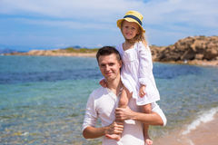 Happy father and cute little daughter have fun Stock Photos