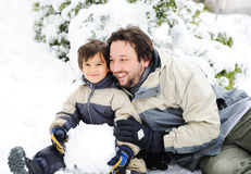 Happy father and cute son royalty free stock images