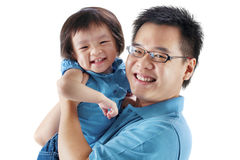 Happy father and daughter. On white background Royalty Free Stock Photos