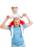 Happy father with daughter kid isolated on white background Royalty Free Stock Photography