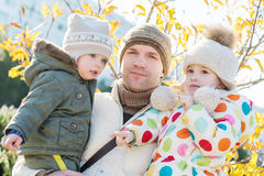 Happy father and daughter and son Stock Photos