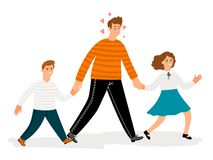 Happy father with daughter and son walk. Vector happy family, parent with kids illustration royalty free illustration