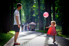 Happy father and daughter on vacations Royalty Free Stock Images
