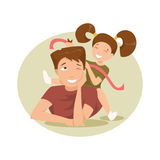 Happy father and daughter. Vector Illustration Stock Photos