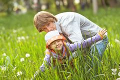 Happy father and daughter for a walk summer day stock photo