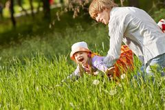 Happy father and daughter for a walk summer day royalty free stock image