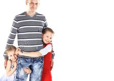 Happy father and daughters smiling Royalty Free Stock Photo