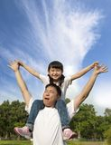 Happy father day. Pretty girl with her father Royalty Free Stock Photos