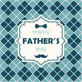 Happy Father Day. Card on argyle background with bow-tie, mustache and lettering in frame. Vector. Stock Images