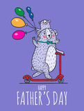 Happy Father day card with bear dad and child Royalty Free Stock Images