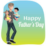 Happy Father Day Card. The children are in the hands of their father. Postcards father s day Stock Photos