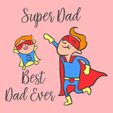 Happy father day cartoon style greeting card. Vector art Royalty Free Stock Photos