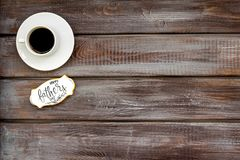 Happy Father Day with coffee on wooden background top view mockup. Happy Father Day celebration with cup of coffee on wooden background top view mockup royalty free stock photography