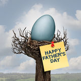 Happy Father Day. And daddy or fatherhood celebration concept as a nest with an egg as a parenting symbol as a best dad message with 3D illustration elements Stock Image